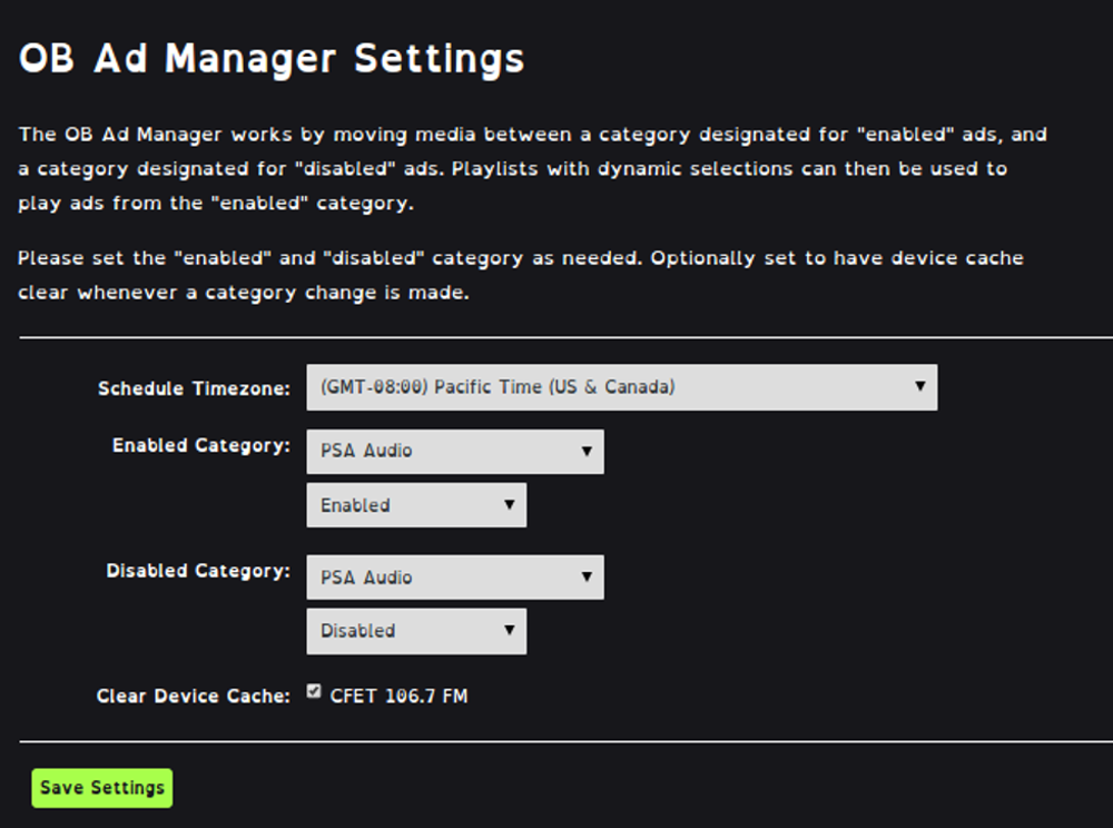 AdManager Settings
